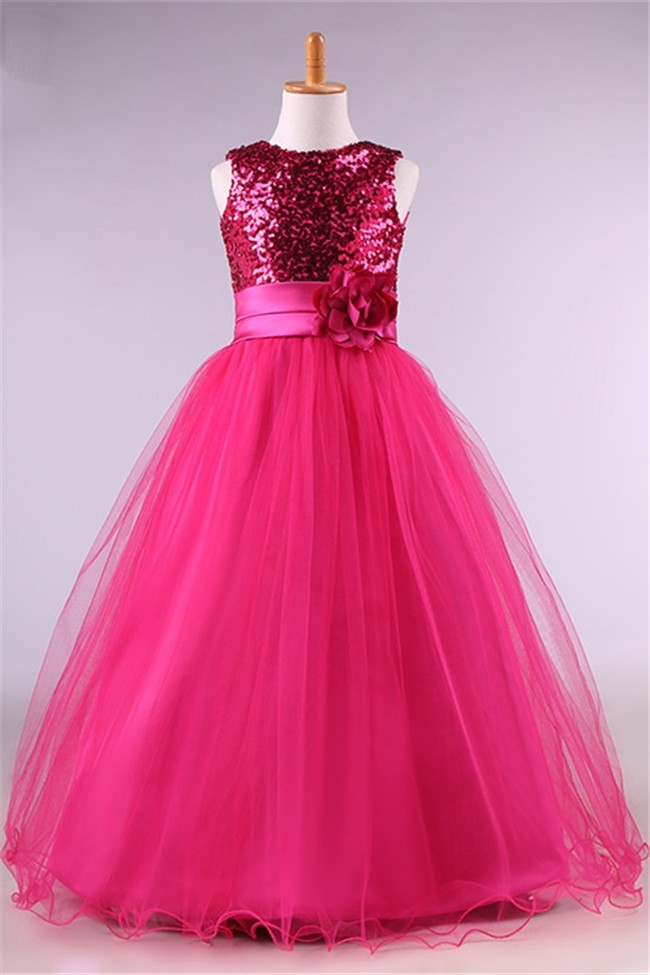 Ball Gown Hot Pink Tulle Sequin Little Girl Prom Dress With Flower