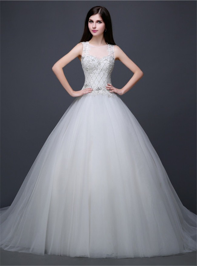 Ball Gown Illusion Neckline Cut Out Back Tulle Lace Beaded Wedding Dress