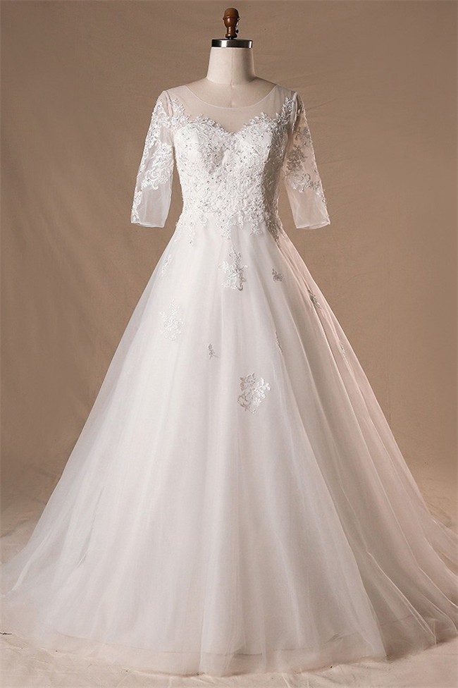 Ball Gown Illusion Neckline Lace Tulle Plus Size Wedding Dress With