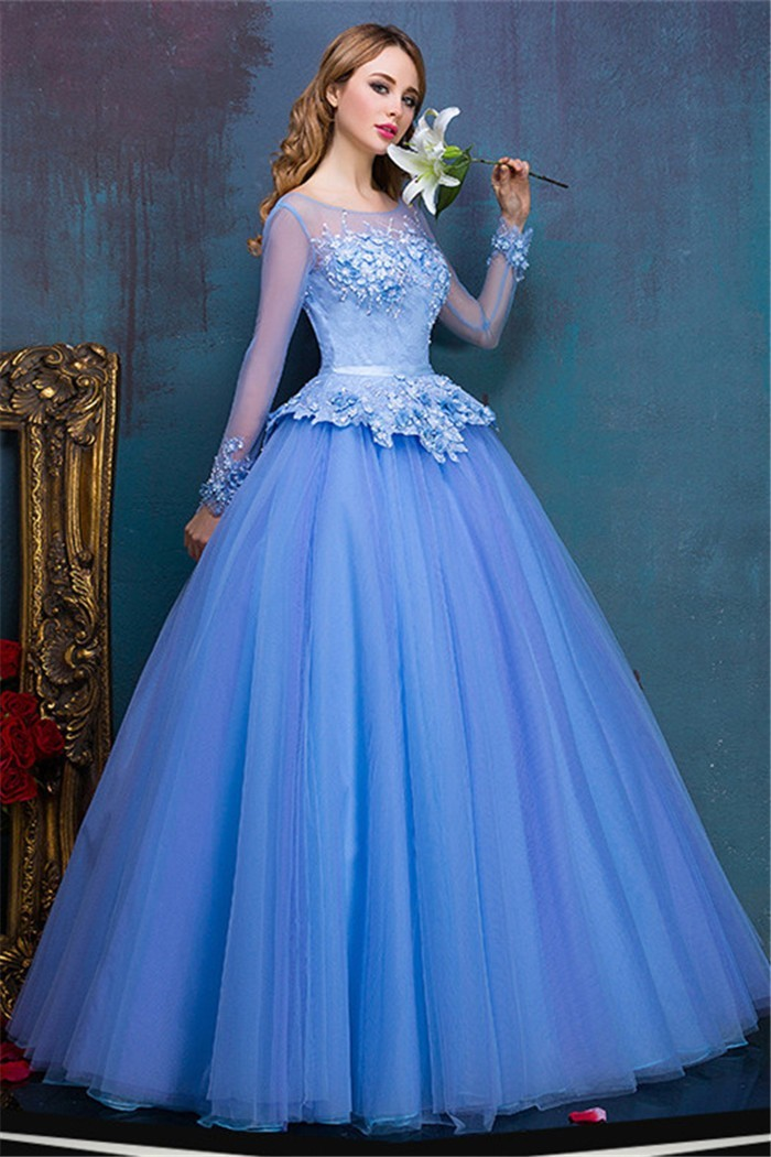 Ball Gown Illusion Neckline Long Sleeve Sky Blue Tulle Peplum Prom Dress