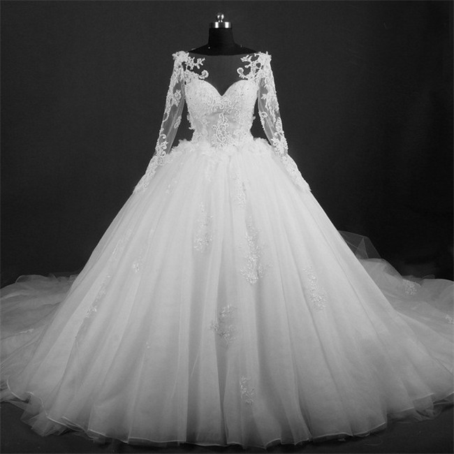 Ball Gown Illusion Neckline Long Sleeve Tulle Lace Beaded Wedding ...