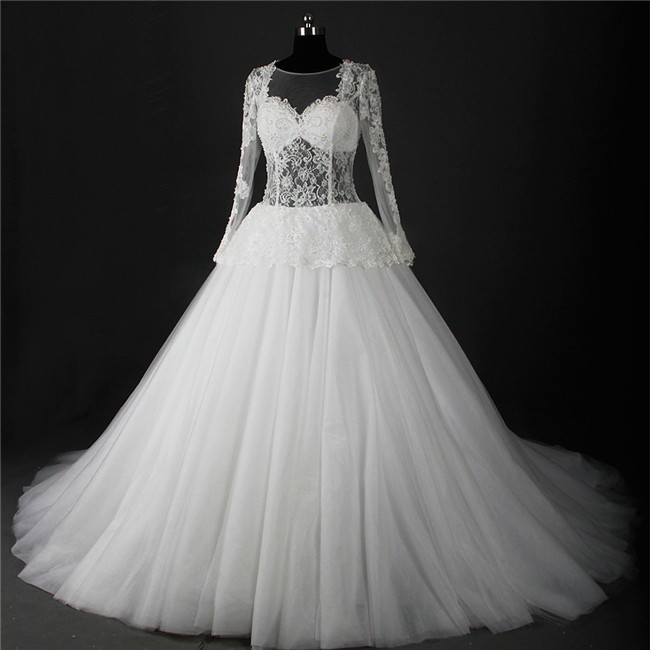 Ball Gown Illusion Neckline Long Sleeve Tulle Lace Peplum Wedding Dress