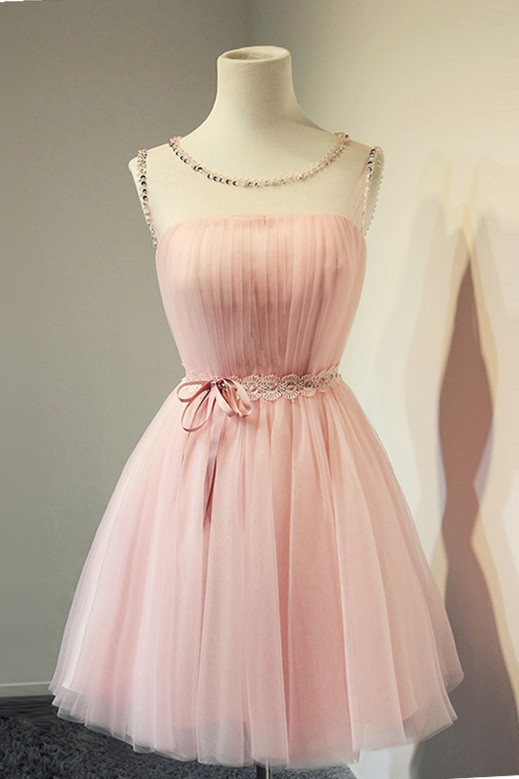 0cbe4710188 Ball Gown Illusion Neckline Open Back Short Light Pink Tulle Corset Prom  Dress