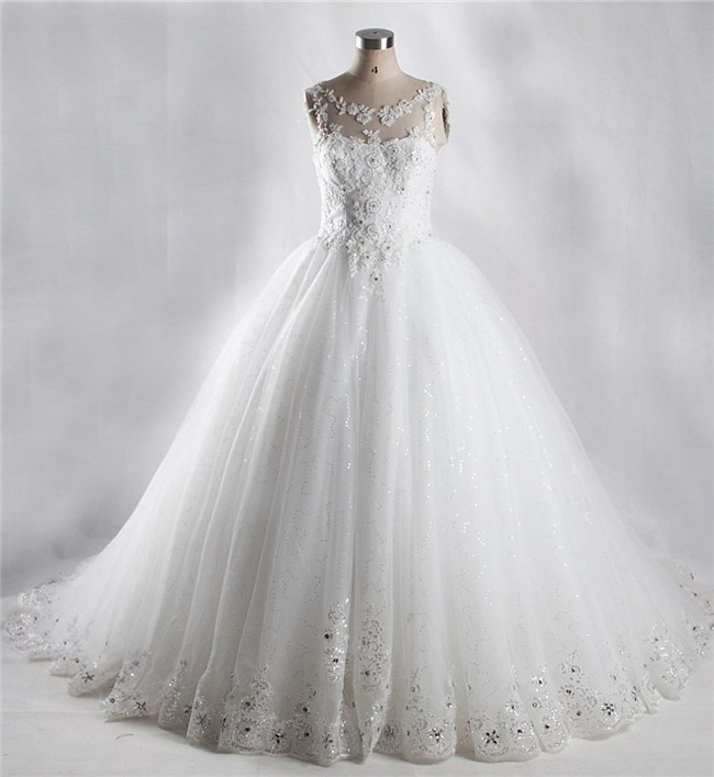 Ball Gown Illusion Neckline Shinning Tulle Lace Beaded Wedding Dress ...