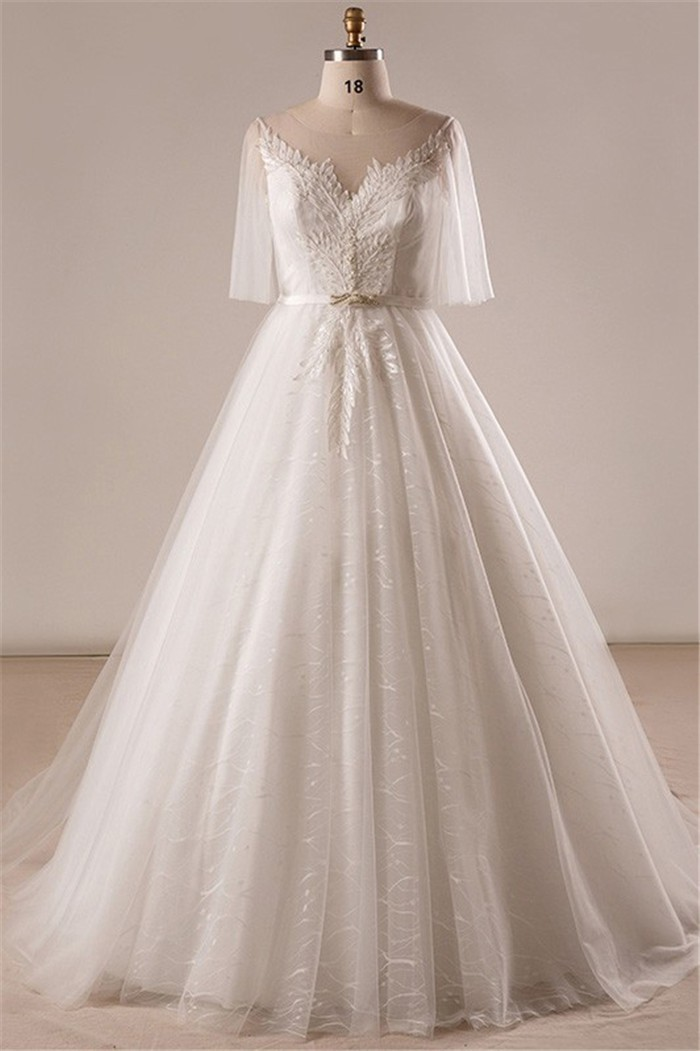 Ball Gown Illusion Neckline Tulle Sleeve Plus Size Wedding Dress ...