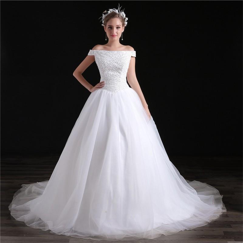 Drop Waist Wedding Dress: Ball Gown Off The Shoulder Drop Waist Tulle Beaded Wedding