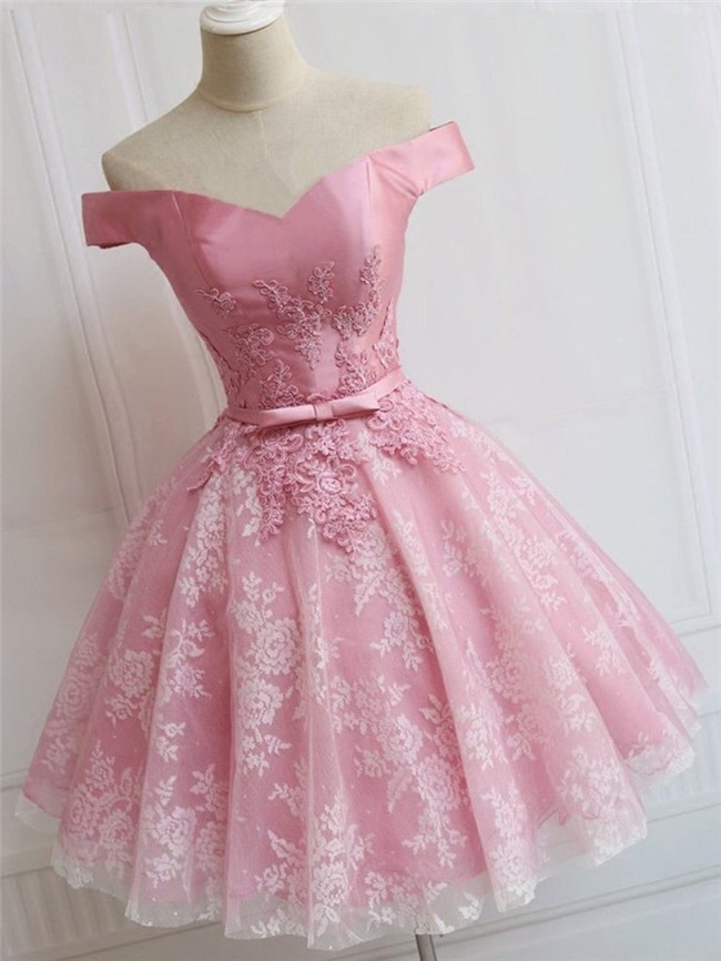 Ball Gown Off The Shoulder Dusty Rose Tulle Lace Short Prom Dress ...