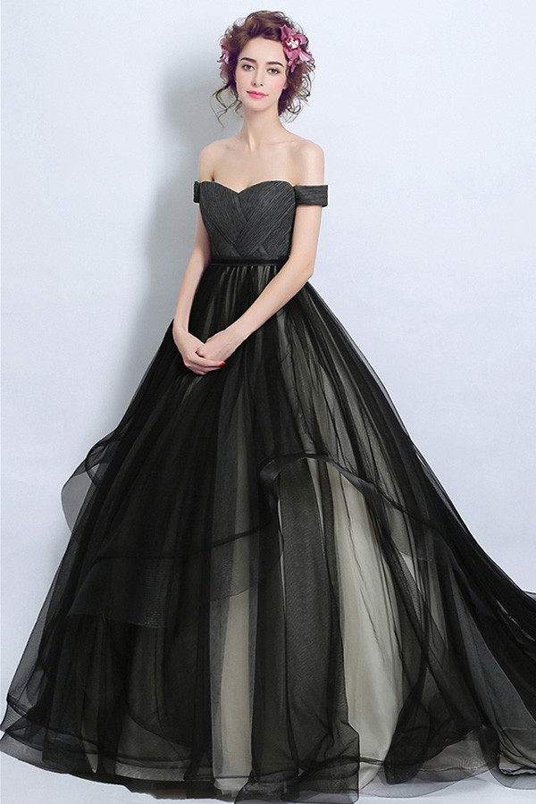 Ball Gown Off The Shoulder Gothic Black Tulle Ruffle Wedding Dress