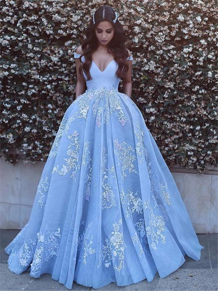 2017 Long Prom Dress, Long Light Blue Prom Dress With ...  |Formal Ball Dresses With Lace