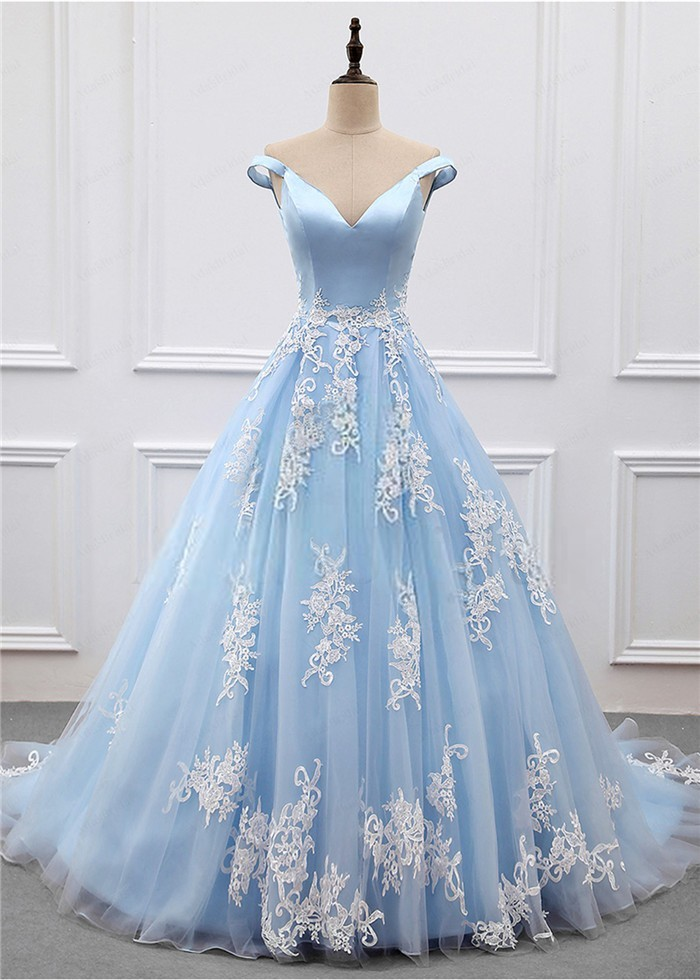 Ball Gown Off The Shoulder Light Blue Tulle Applique Prom Dress