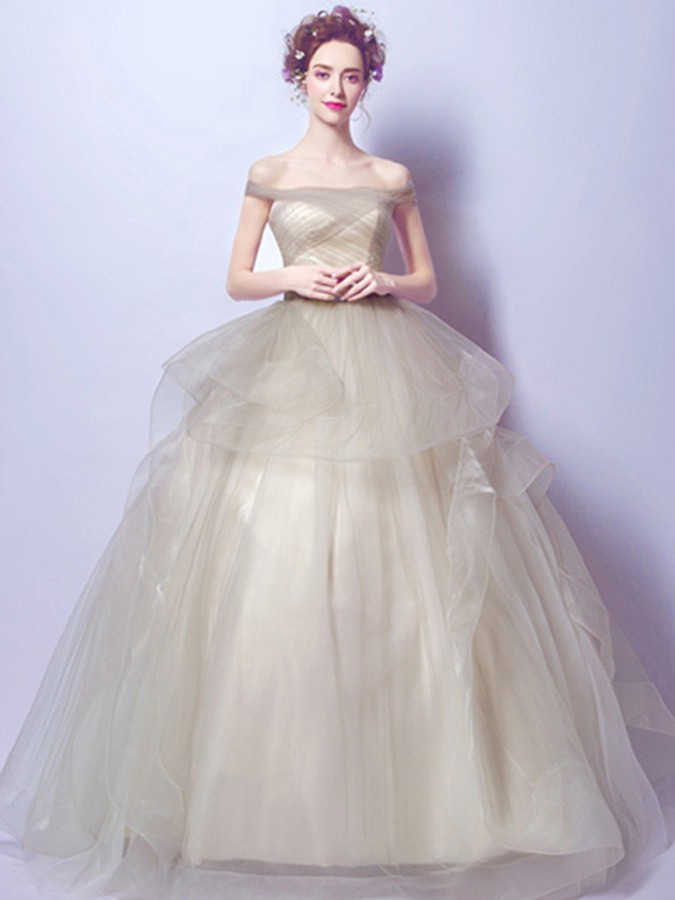 Ball Gown Off The Shoulder Light Tan Tulle Ruffle Prom Wedding Dress ...