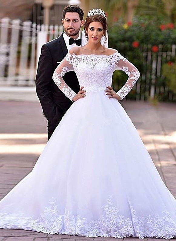 fb81b9096d2 Ball Gown Off The Shoulder Long Sleeve Tulle Lace Wedding Dress