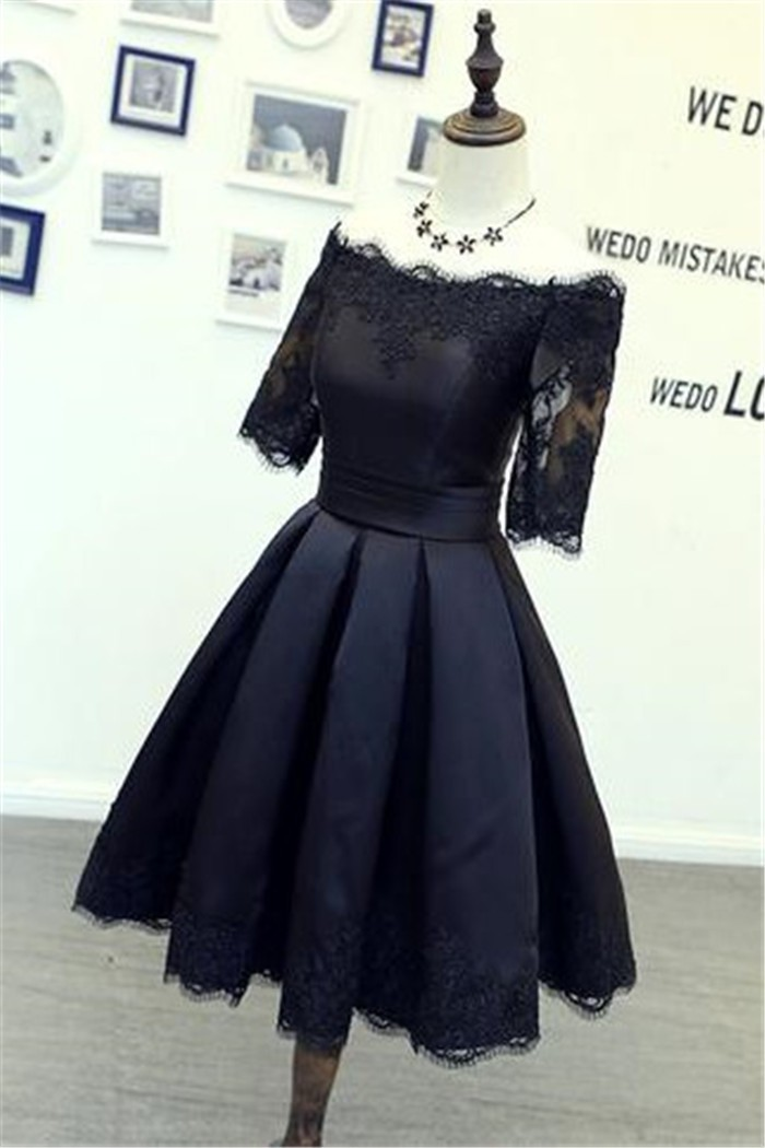 Ball Gown Off The Shoulder Short Sleeve Black Satin Lace Prom Dress