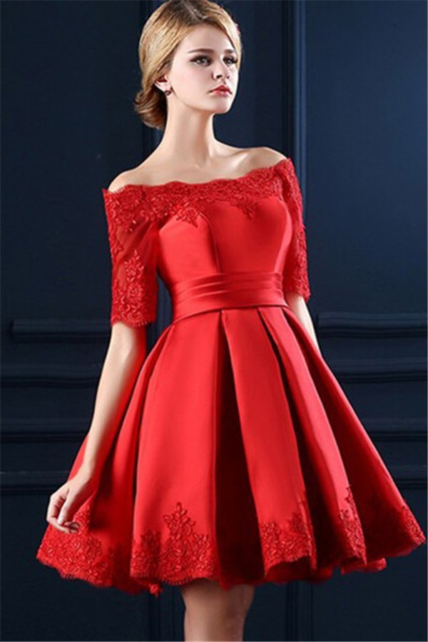 37d04033383 Ball Gown Off The Shoulder Short Sleeve Red Satin Lace Corset Prom Dress