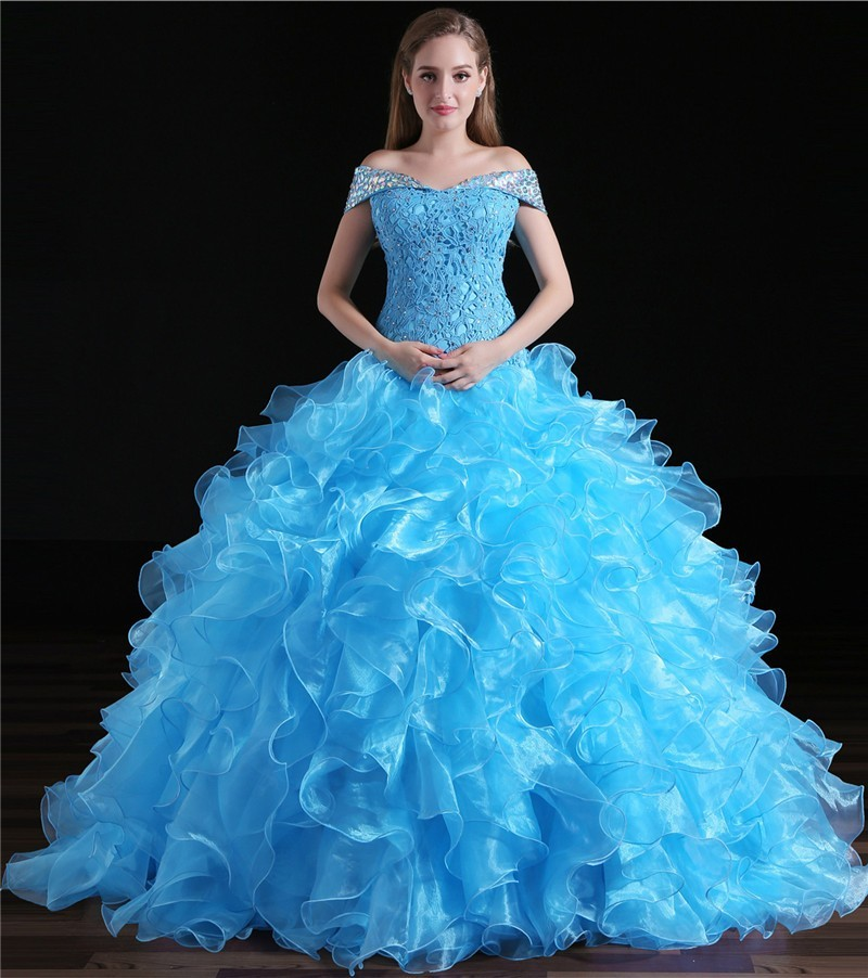 Ball Gown Off The Shoulder Turquoise Organza Ruffle Quinceanera Prom Dress e6712a941