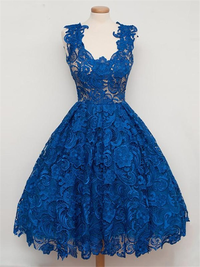 c0877515bb3 Ball Gown Scalloped Neck Royal Blue Heavy Lace Short Prom Dress
