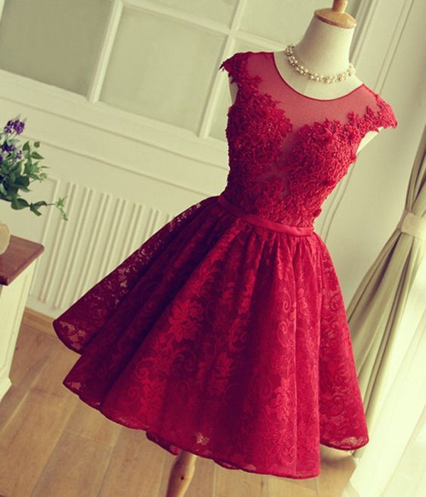 Ball Gown Scoop Neck Cap Sleeve Open Back Short Red Lace Prom Dress