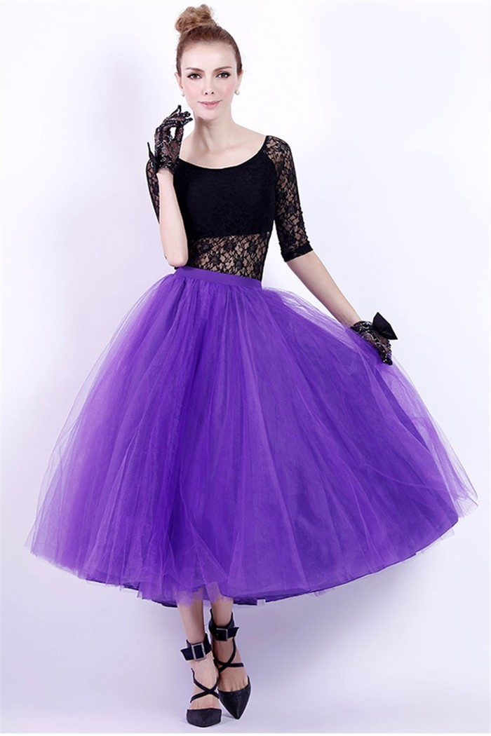 Ball Gown Scoop Neck Tea Length Black Lace Purple Tulle Prom Dress ...