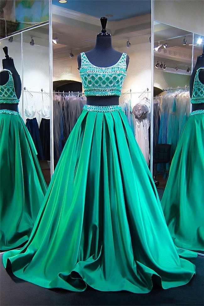 Ball Gown Scoop Neck Two Piece Emerald Green Satin Beaded