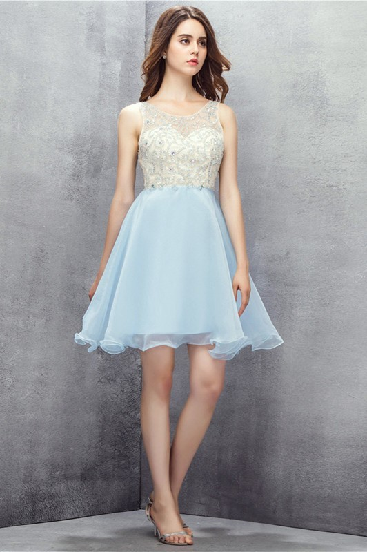 Ball Gown Scoop Open Back Short Light Blue Tulle Beaded Prom Dress