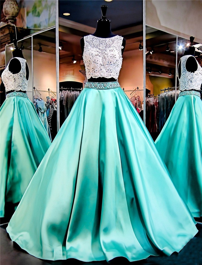Ball Gown Sleeveless Open Back Mint Green Satin Lace Two Piece Prom ...