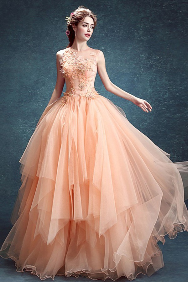 Ball Gown Sleeveless Peach Tulle Ruffle Wedding Prom Dress