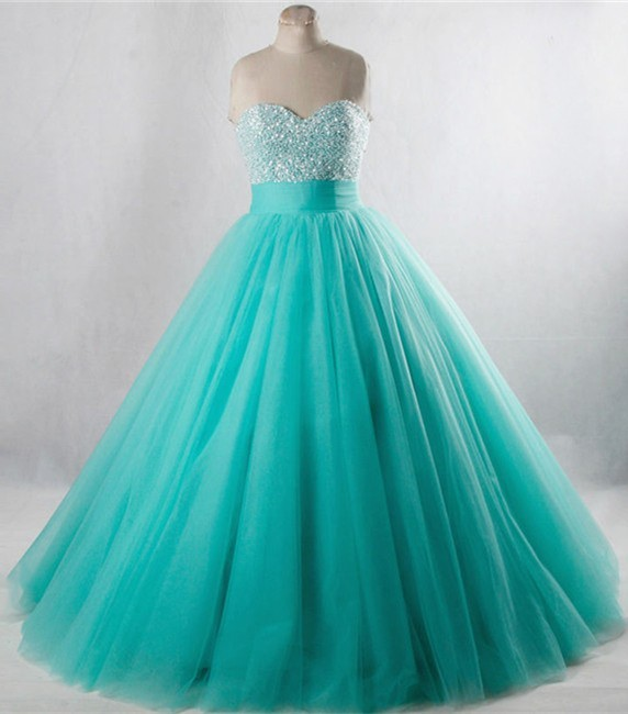 d906c210f7a5 Ball Gown Strapless Aqua Tulle Beaded Prom Dress Lace Up Back