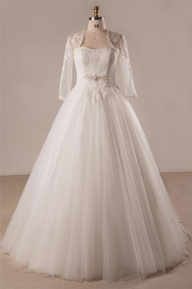 Ball Gown Strapless Lace Tulle Plus Size Wedding Dress With Long