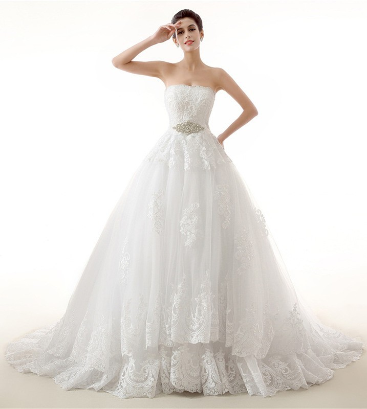 Ball Gown Strapless Lace Wedding Dress With Swarovski Crystals Sash
