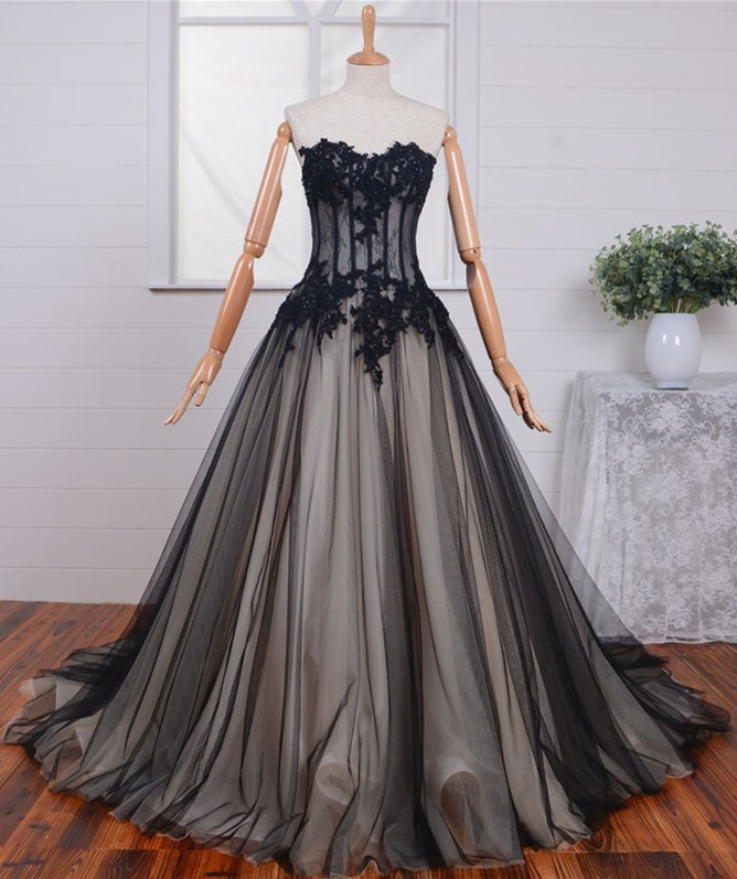 Ball Gown Strapless See Through Black Tulle Lace Beaded Corset Prom ...