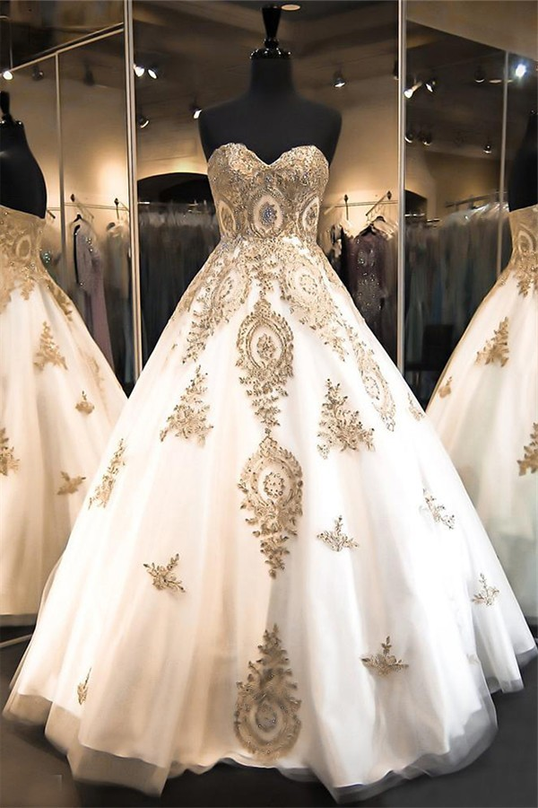 Ball Gown Strapless Sweetheart White Satin Tulle Gold Lace Applique ...