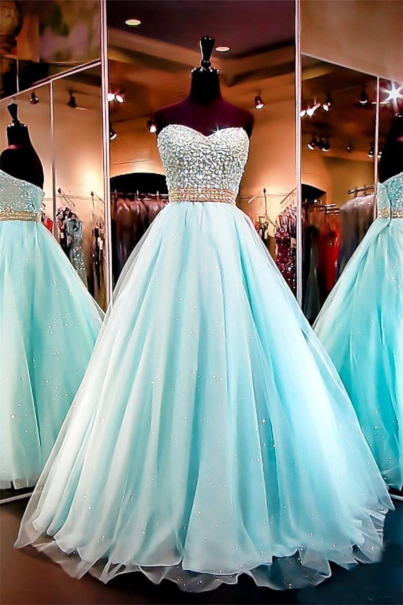 Ball Gown Sweetheart Aqua Tulle Beaded Sparkly Prom Dress