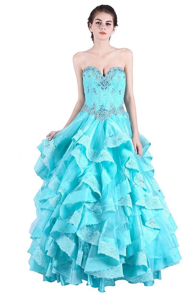 28c92d5571b Ball Gown Sweetheart Aqua Tulle Lace Ruffle Corset Prom Dress