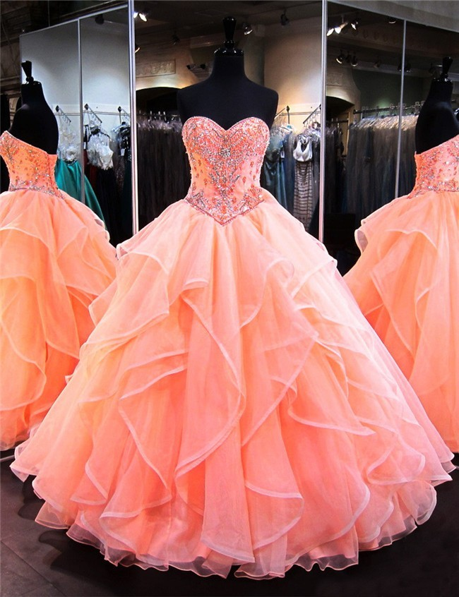 Ball Gown Sweetheart Coral Satin Organza Ruffle Puffy Quinceanera ...