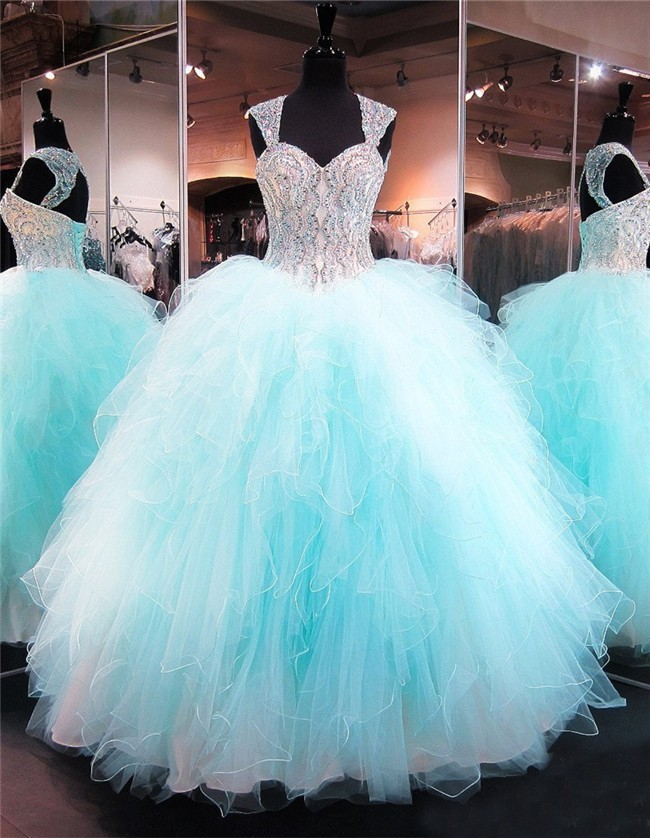 Ball Gown Sweetheart Corset Aqua Tulle Ruffle Puffy Quinceanera Prom ...
