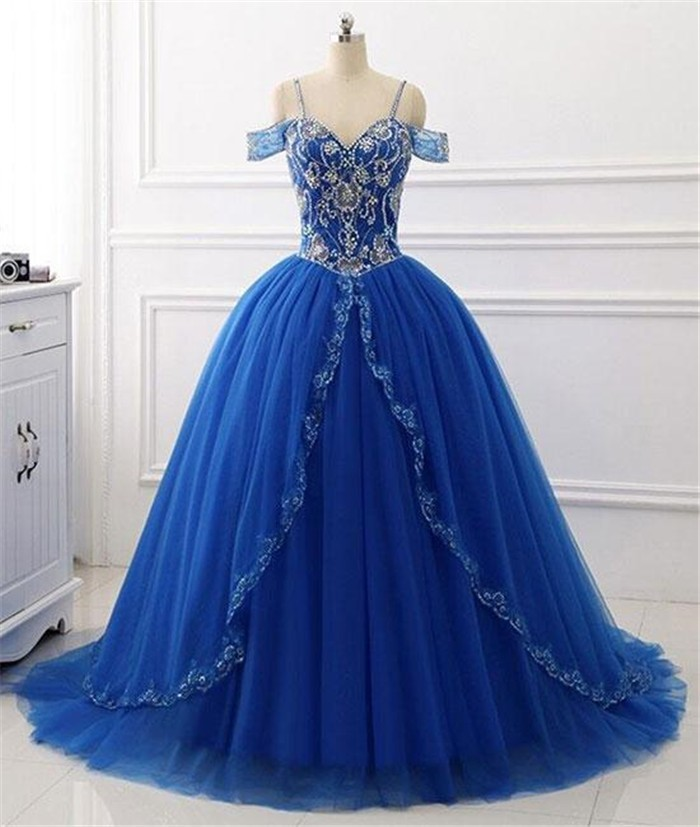 b816b08a48c Ball Gown Sweetheart Corset Back Royal Blue Tulle Beaded Prom Dress  Spaghetti Straps