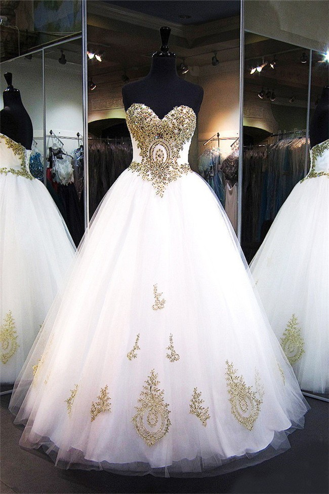 Ball Gown Sweetheart Corset Back White Tulle Gold Applique ...