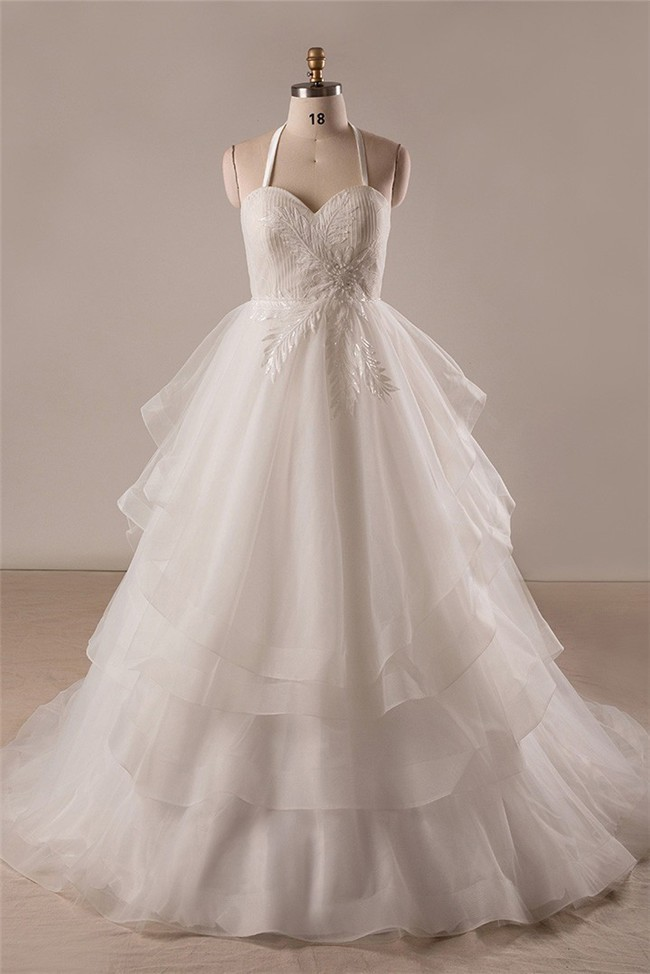 Ball Gown Sweetheart Detachable Halter Organza Ruffle Layered Plus