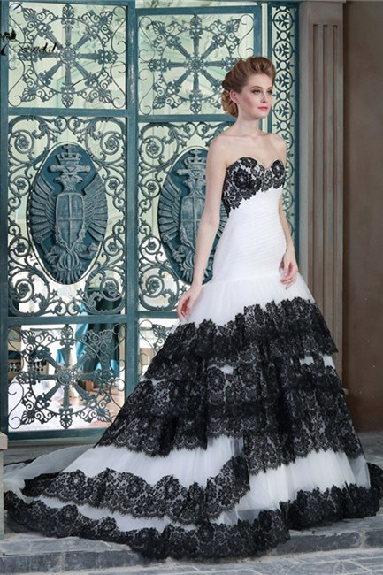 Ball Gown Sweetheart Drop Waist White Tulle Black Lace Tiered