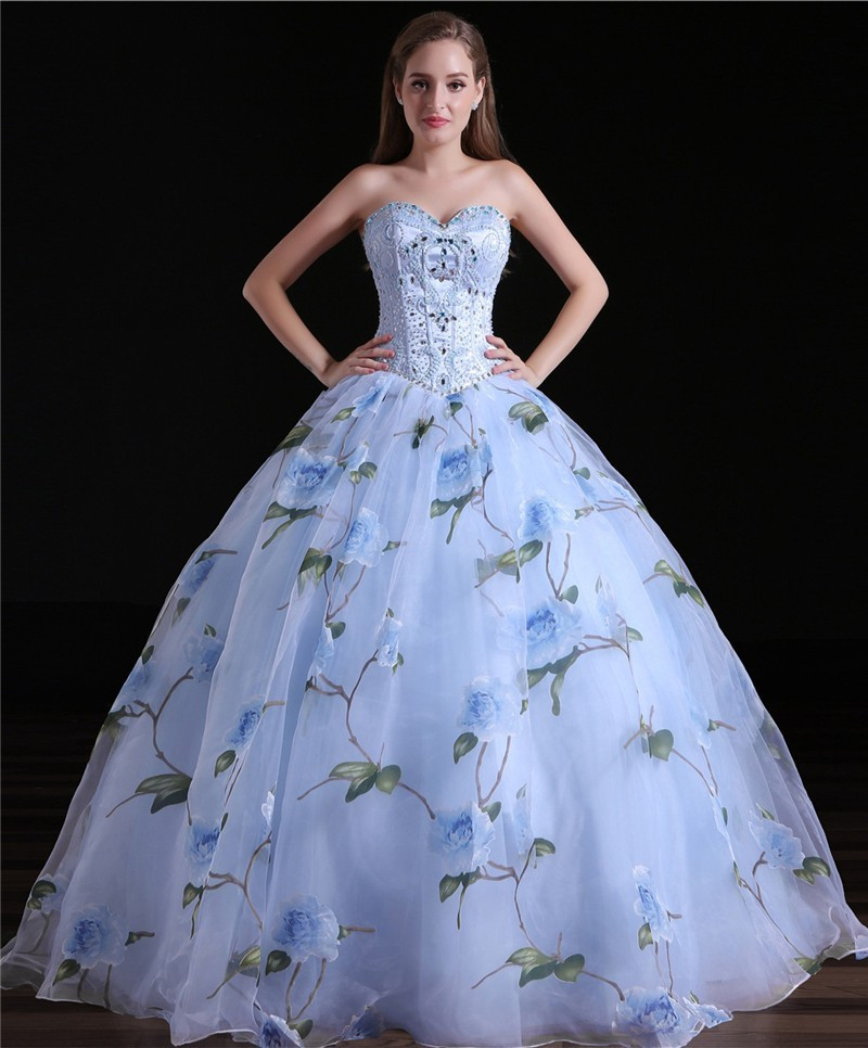 578e7e48bcd Ball Gown Sweetheart Floral Printed Organza Prom Dress Corset Back
