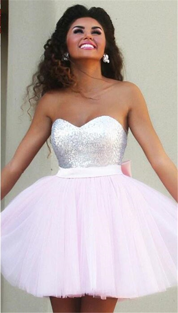 Ball Gown Sweetheart Light Pink Tulle Beaded Short Prom Dress With ...