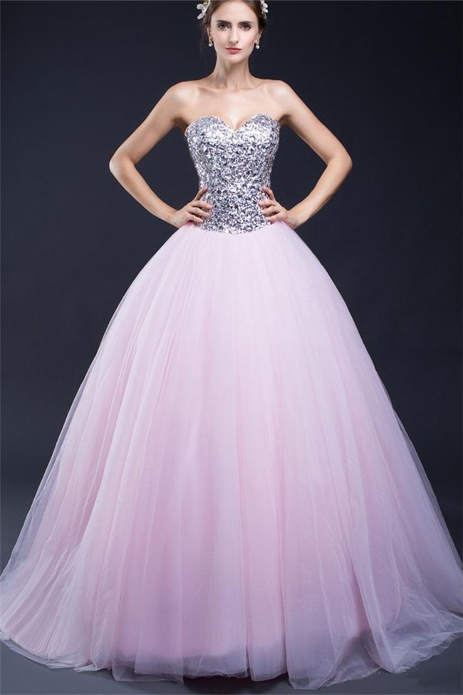 f2db43eb7dd4 Ball Gown Sweetheart Light Pink Tulle Sequin Beaded Prom Dress Corset Back