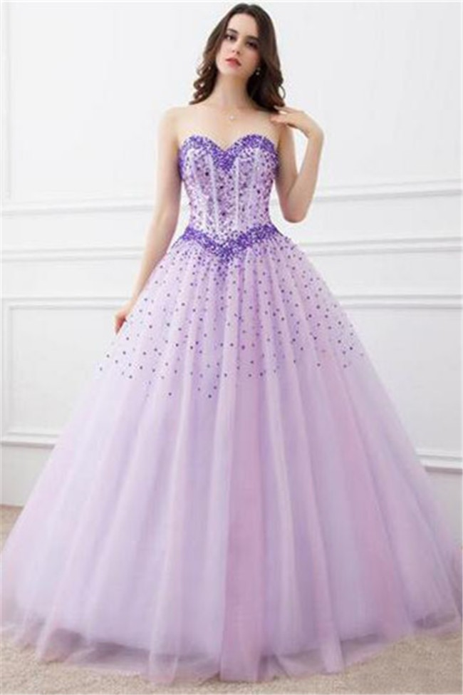 Ball Gown Sweetheart Lilac Tulle Beaded Prom Dress Corset Back
