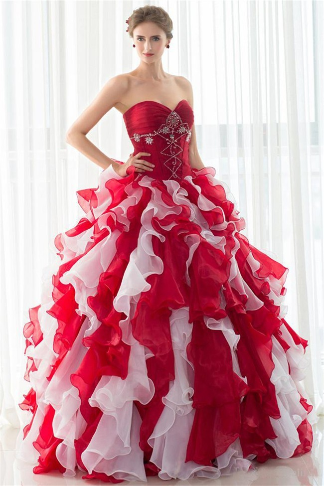 Ball Gown Sweetheart Red Organza Ruffle Quinceanera Prom Dress With ...