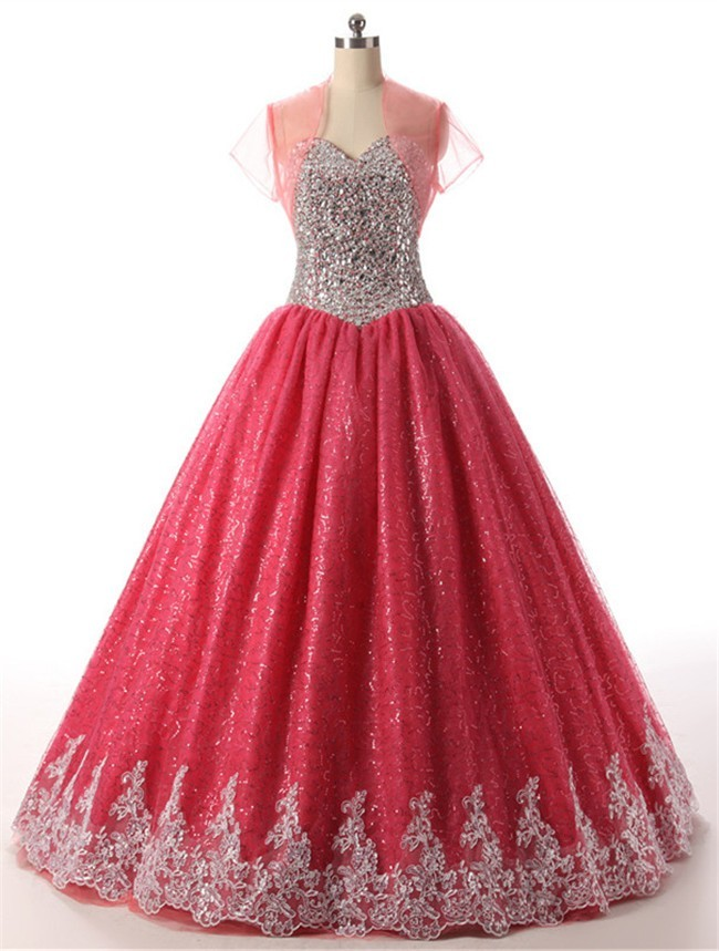 gown sweetheart sequined tulle beaded prom dress