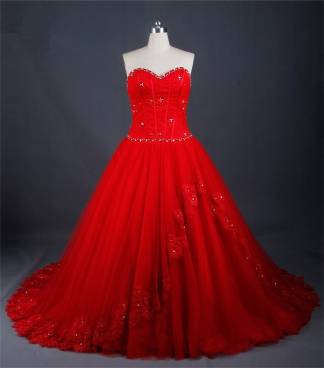 Ball Gown Sweetheart Red Tulle Lace Beaded Wedding Dress Corset Back