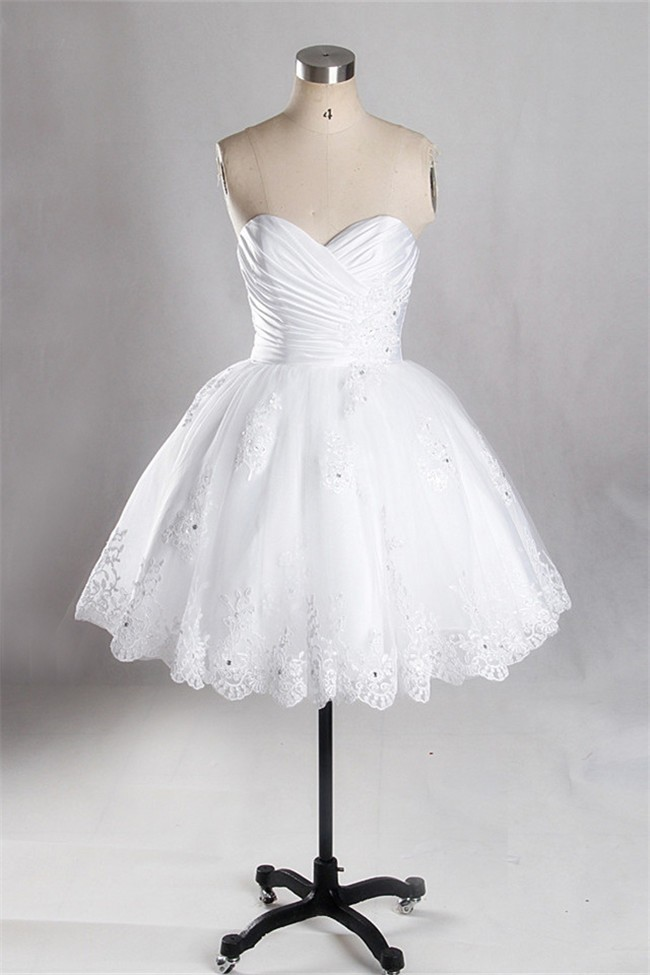 Ball Gown Sweetheart Ruched Satin Tulle Lace Beaded Short Wedding Dress  Corset Back