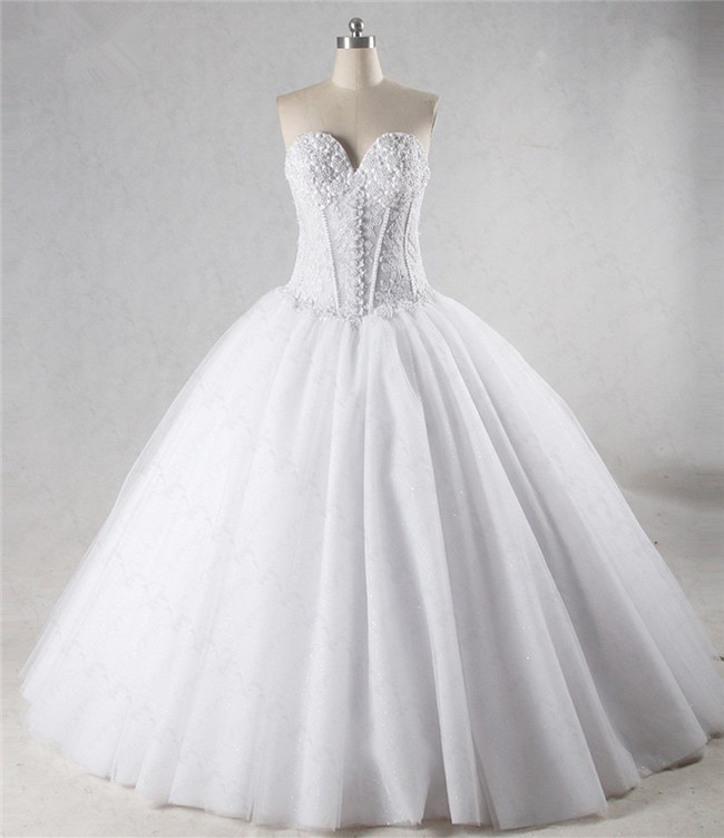 Ball Gown Sweetheart See Through Corset Tulle Applique Beaded