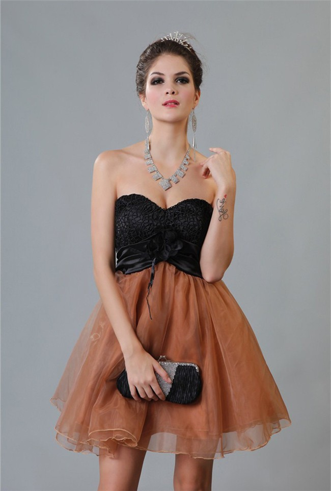 6c73c8c354047 Ball Gown Sweetheart Short Black Lace Brown Organza Two Tone Party Prom  Dress