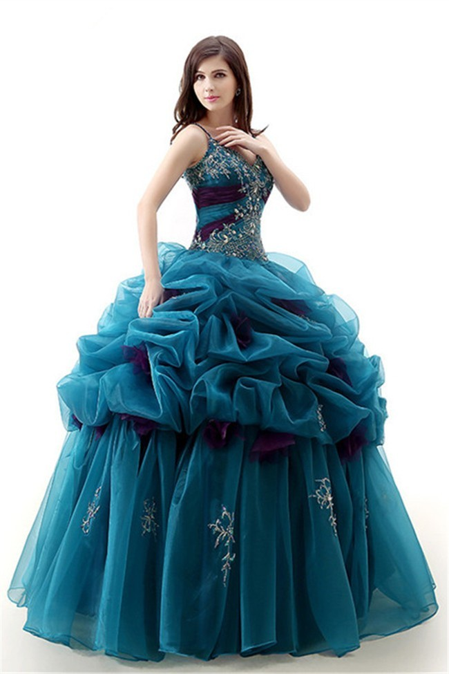 Ball Gown Sweetheart Spaghetti Strap Teal Organza Puffy Quinceanera ...
